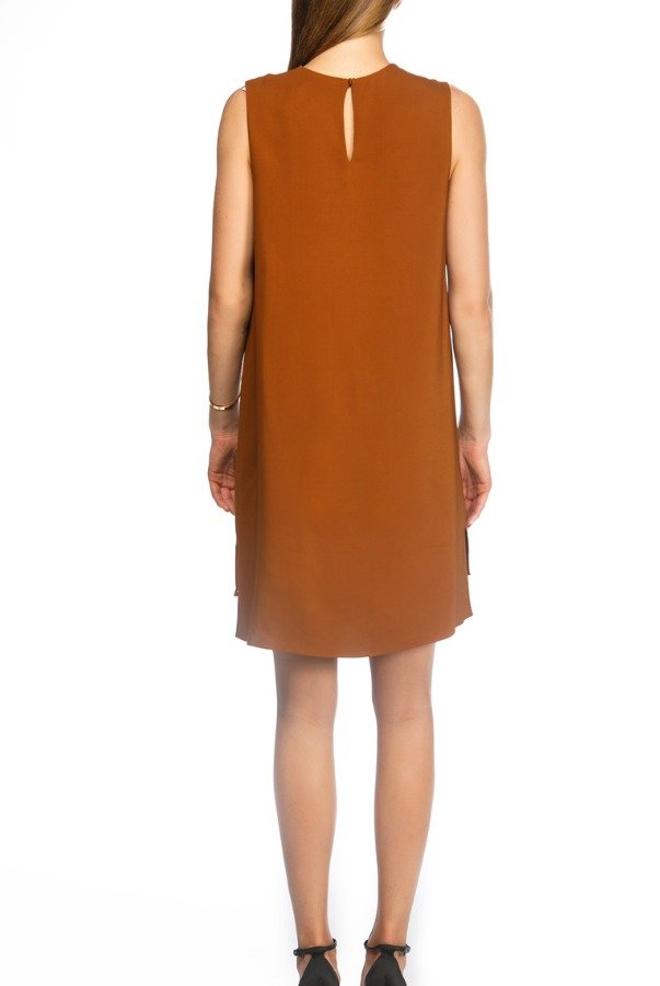 Lanvin Brown V Neck Pull Over Dress