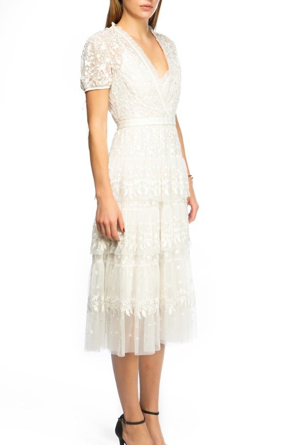 Needle and Thread Floral Embroidered Tulle White Dress