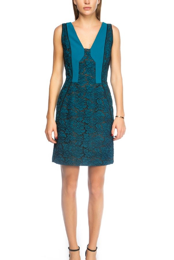 J Mendel Floral Embroidered Bicolor Lace Paneled Dress