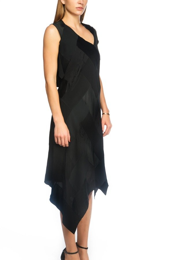 Maison Margiela Black Asymmetrical Trapeze Dress