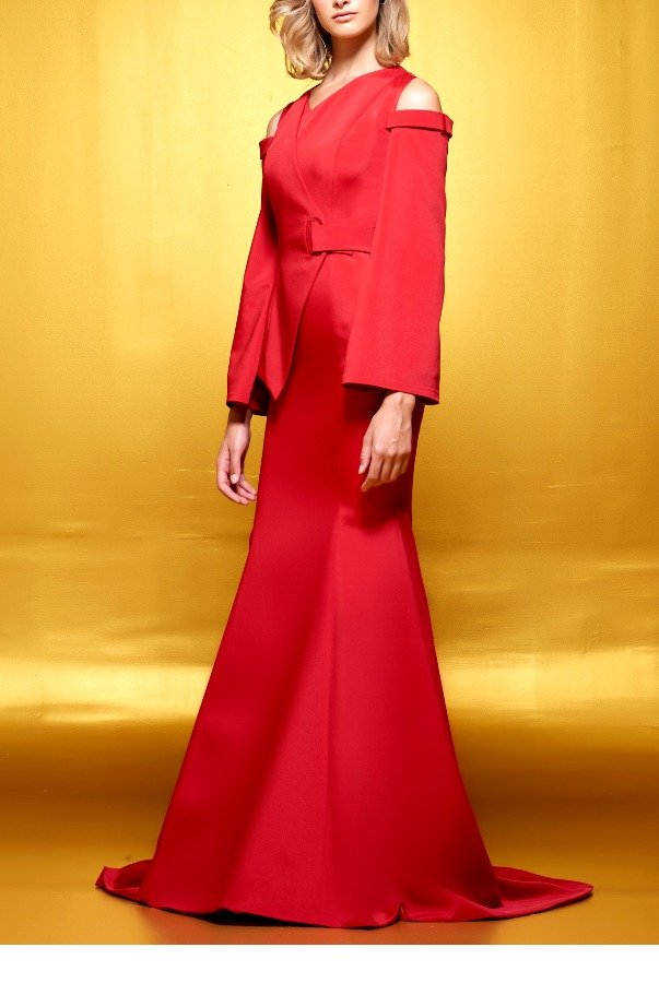 John Paul Ataker Red Structured Faille A Line Gown