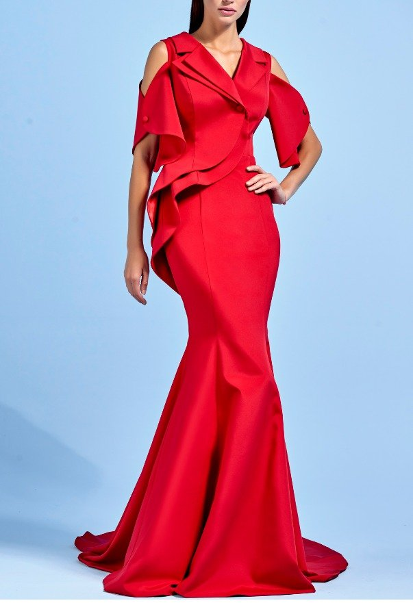 John Paul Ataker Red Collared Structured Faille Mermaid Dress