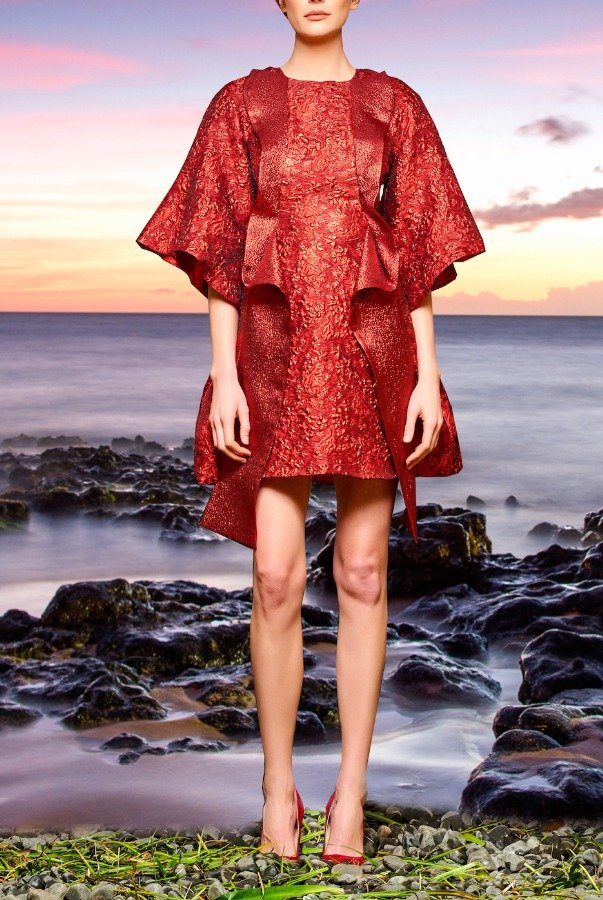 John Paul Ataker Red Ruffled Metallic Floral Jacquard Mini Dress