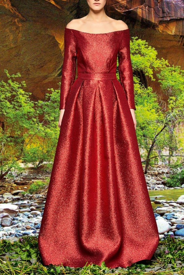 John Paul Ataker Red Off Shoulder Metallic Crinkled Jacquard Gown