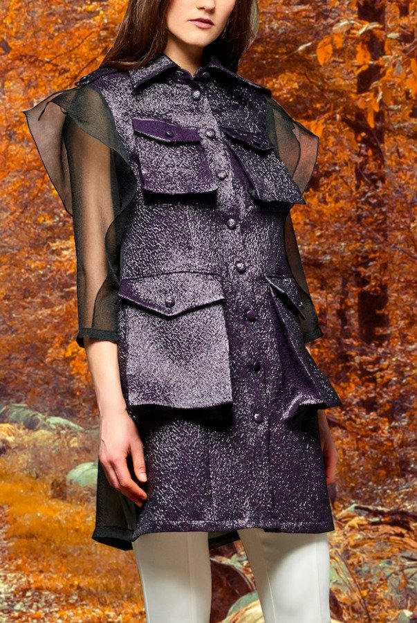 John Paul Ataker Organza and metallic crinkle jacquard jacket