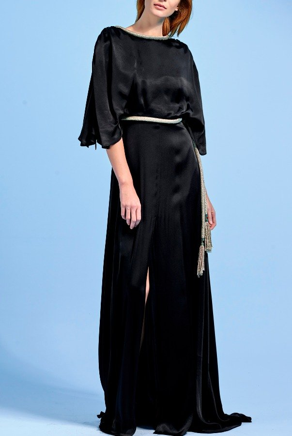 John Paul Ataker Black Viscose Dress with Metallic Cord Detail