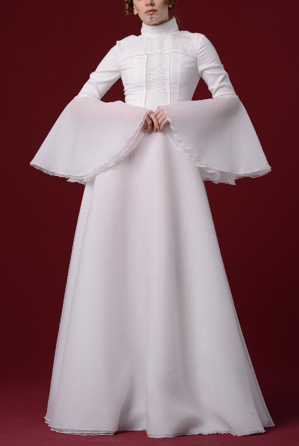 John Paul Ataker White Pleated Organdy Gown