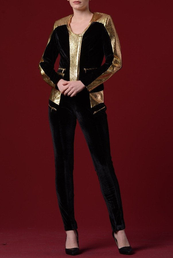 John Paul Ataker Black and Gold Velvet Leather Pocket Pants