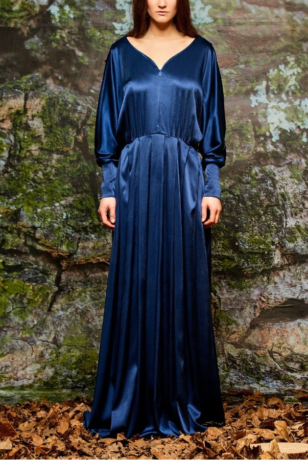 John Paul Ataker  Long Navy Drape Stretch Satin Viscose Dress