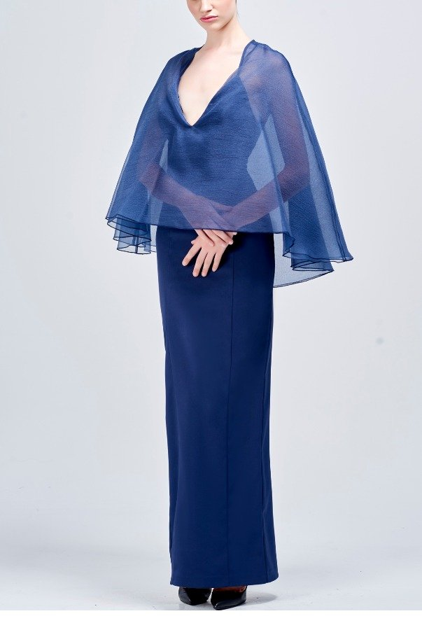 John Paul Ataker Long Navy Faille Dress with Organza Cape Detail