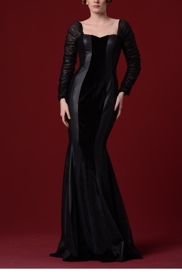 John Paul Ataker Black Velvet Leatherette Fishtail Gown