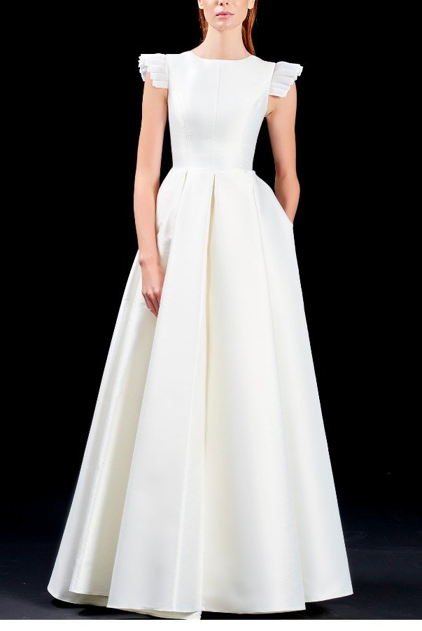John Paul Ataker White Organza Pleated Ruffle Sleeve Taffeta Gown
