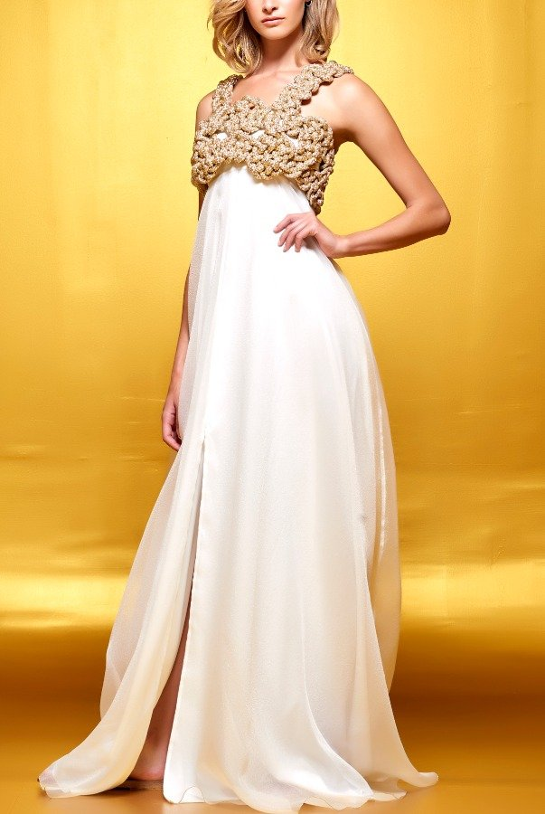John Paul Ataker Gold Hand Weaved Cord Bodice Organza Dress