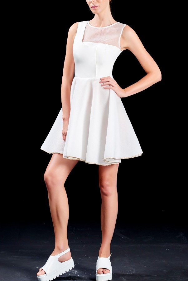 John Paul Ataker Short White One Shoulder Organza Illusion Dress