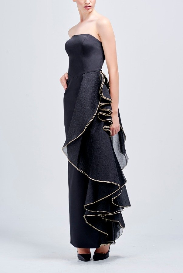 John Paul Ataker Black Organza with Gold Yarn Detail Dress
