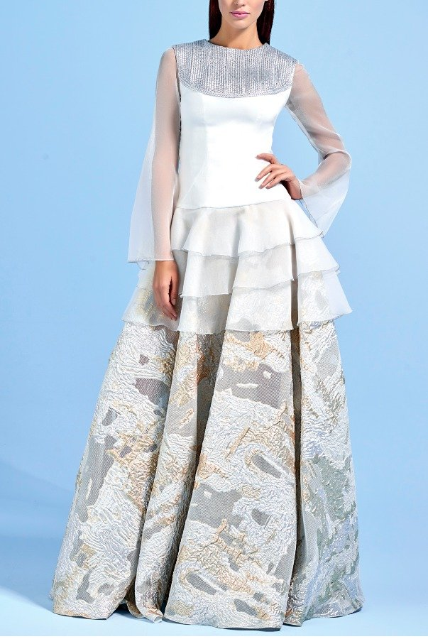 John Paul Ataker Metallic Bodice Jacquard Skirt Organza Dress