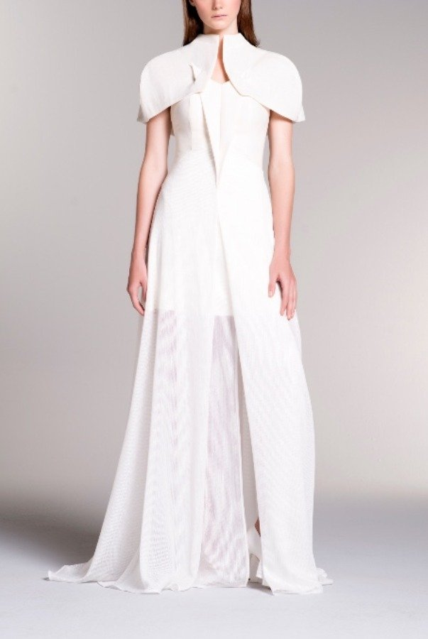 John Paul Ataker Cotton Twill Cape Top and Sheer Mesh Gown