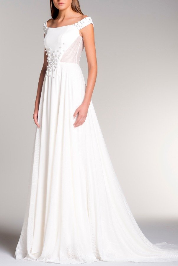 John Paul Ataker White Off Shoulder Viscose Satin with Organza Gown