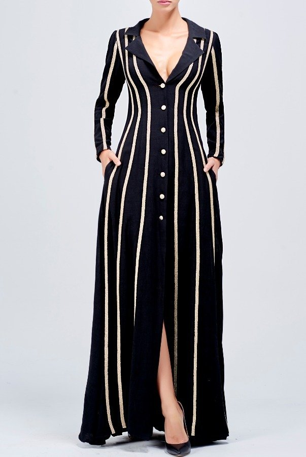 John Paul Ataker Metallic cord striped viscose jacquard long dress