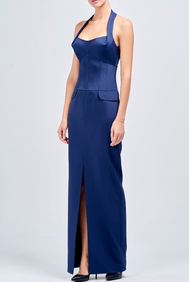 John Paul Ataker Structured faille long blue dress