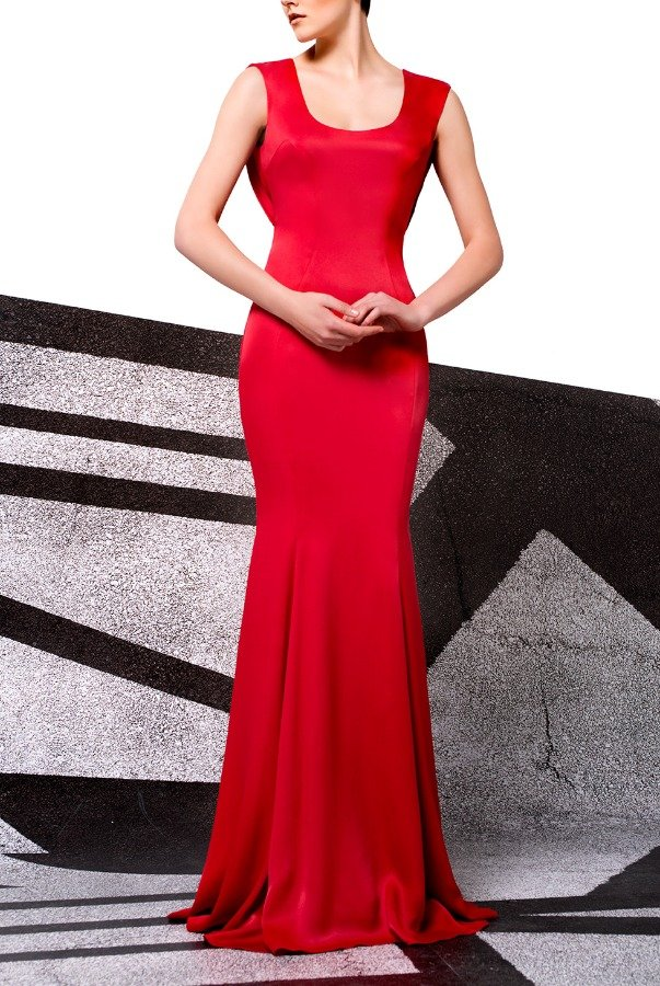 John Paul Ataker Red Scoop Viscose Satin Gown