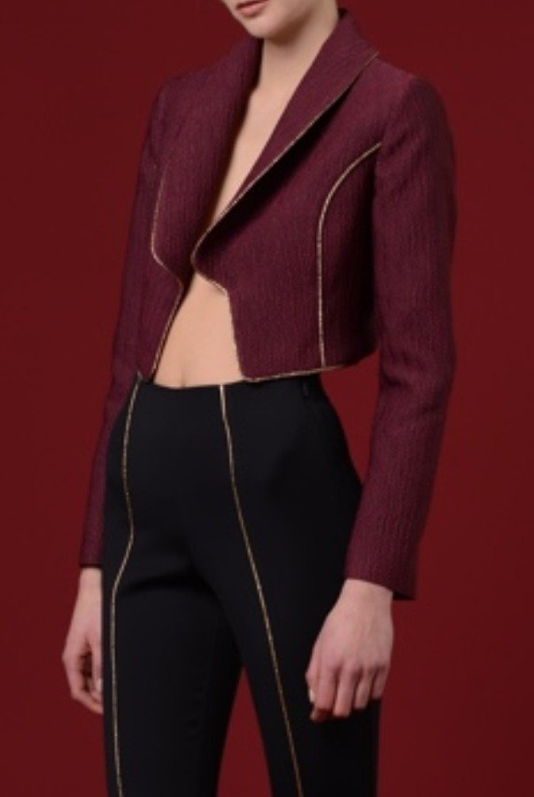 John Paul Ataker Burgundy Jacquard Collared Jacket with Gold Piping