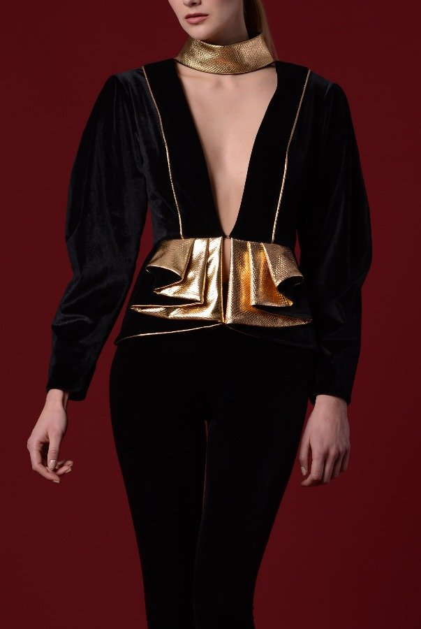 John Paul Ataker Structured Leatherette Velvet Jacket