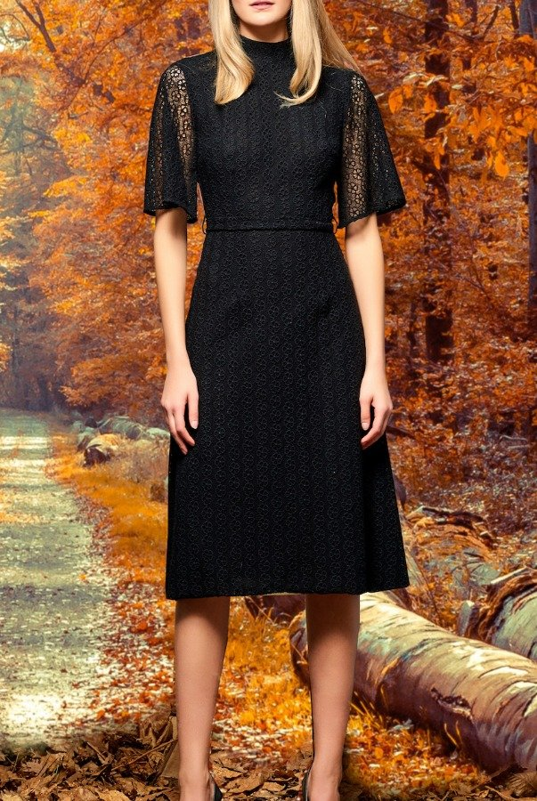 John Paul Ataker Black High Neck Floral Embroidered Lace Dress