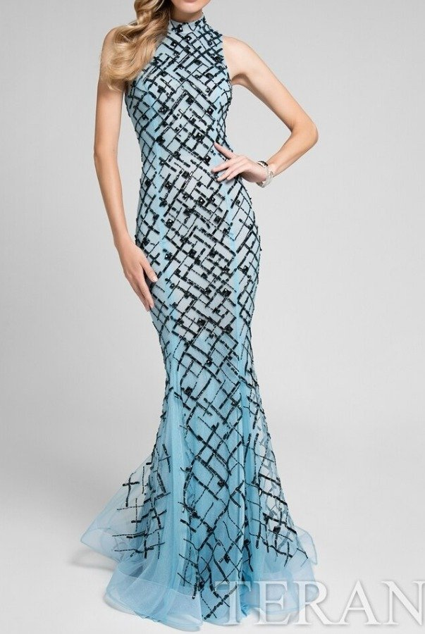 Terani Couture 1712P2494 Light Blue beaded High Neck Gown Dress