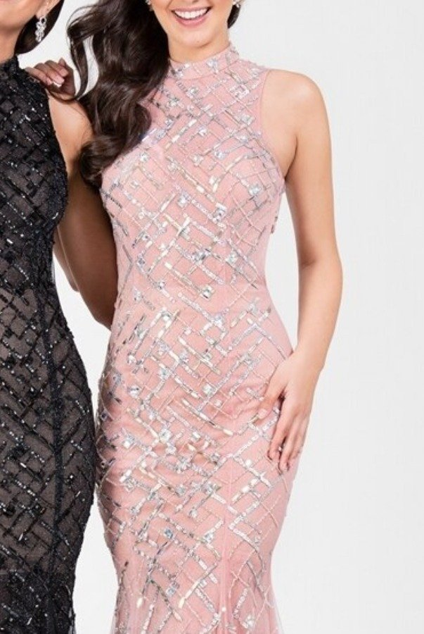 Terani Couture 1712P2494 Blush Pink Beaded High Neck Gown Dress