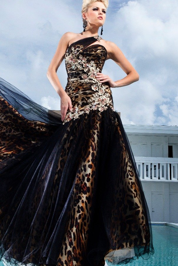 Tony Bowls One Shoulder Leopard Print Mermaid Applique Gown