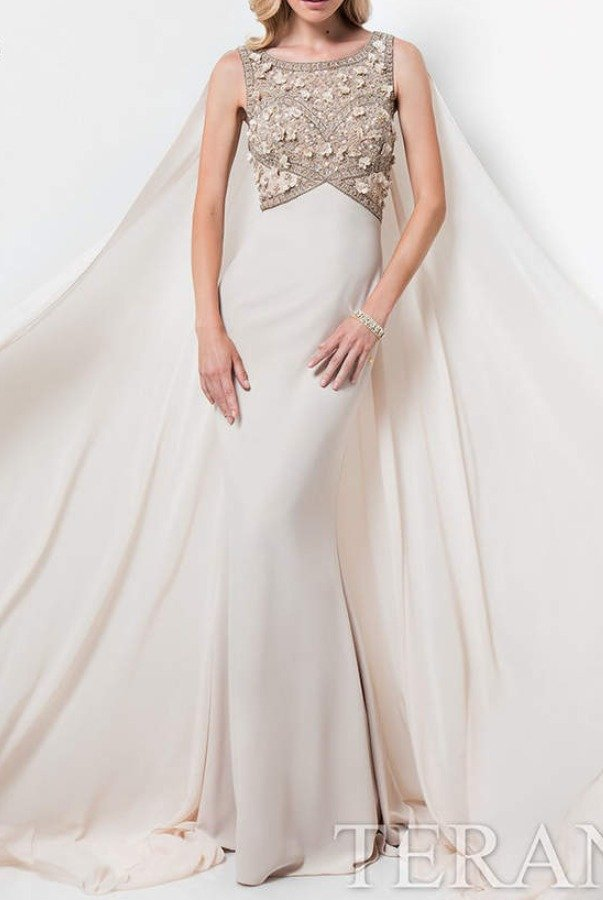 Terani Couture 1713M3460 Champagne Beaded Gown w Cape