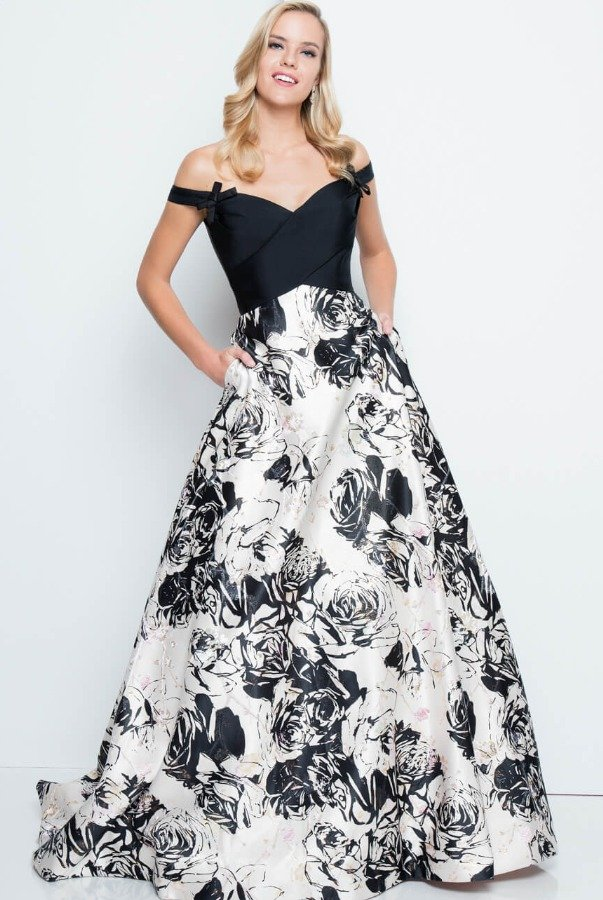 Terani Couture 1813E6355 Off The Shoulder Print Mikado Gown