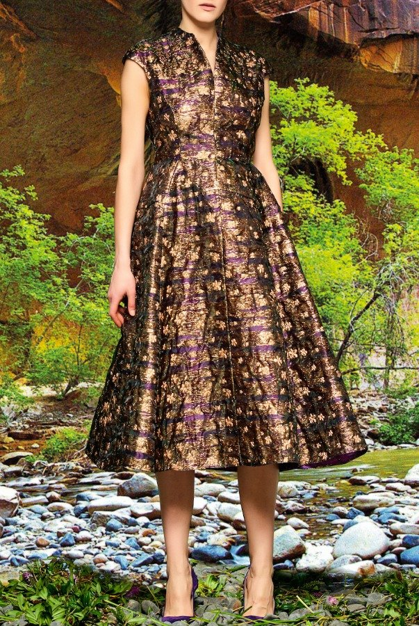 John Paul Ataker Brown Metallic Floral Jacquard A Line Dress