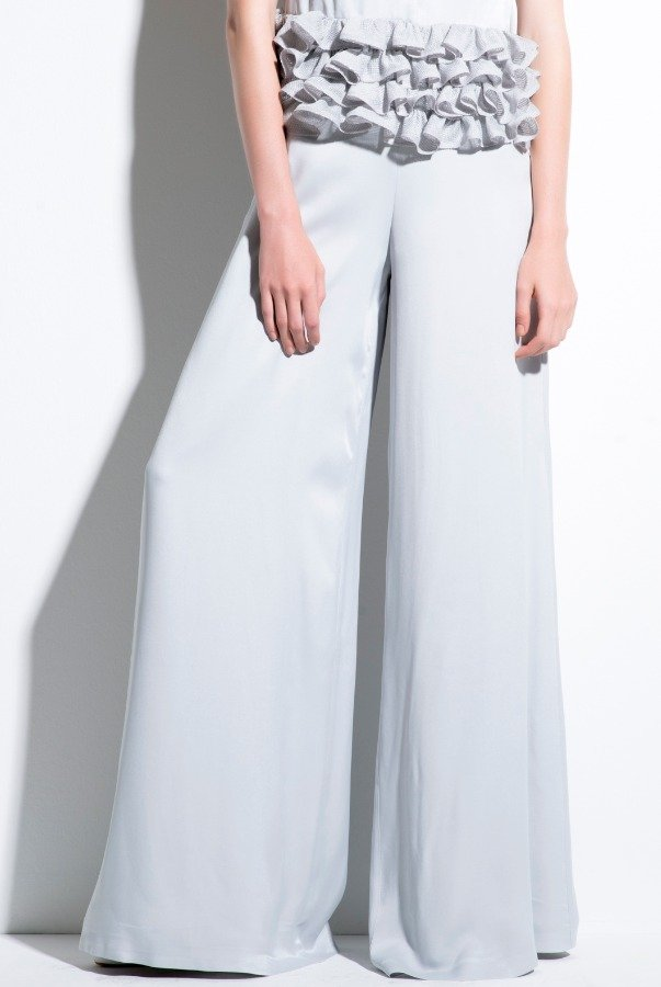 John Paul Ataker Light Grey Viscose Satin High Waist Wide Leg Pants