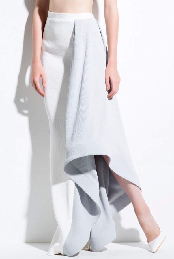 John Paul Ataker Light Gray Asymmetrical Skirt