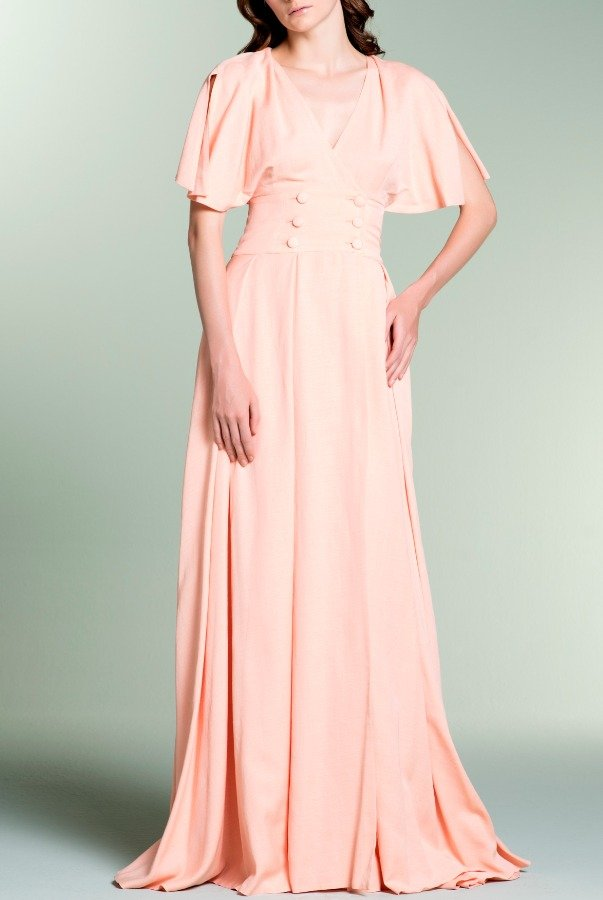 John Paul Ataker Salmon Double Breasted Viscose Satin Dress