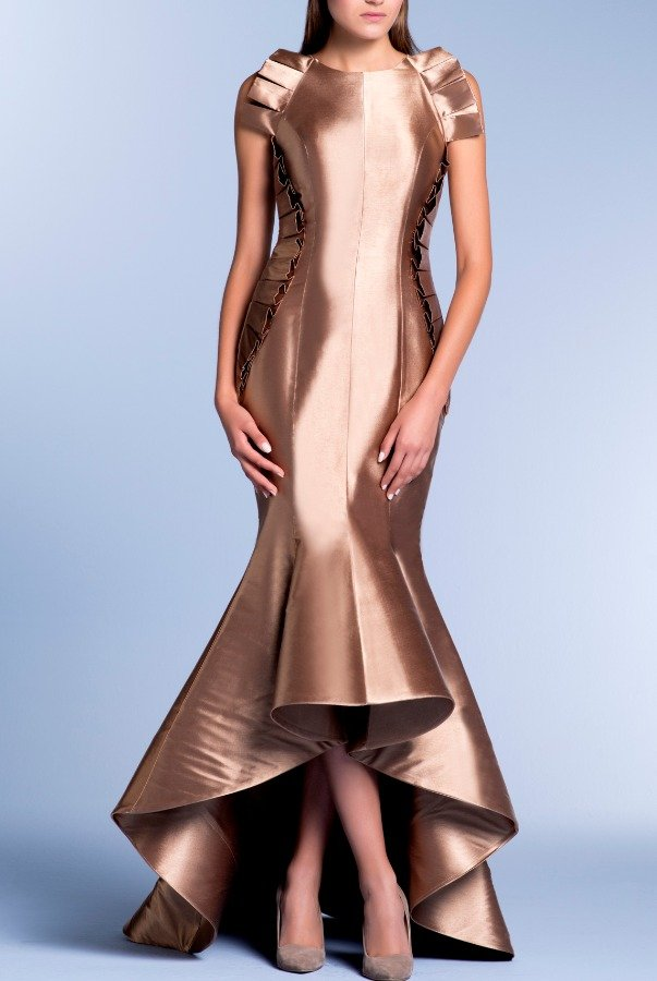 John Paul Ataker Brown Metallic Acetate Gown with Inverted Pleats