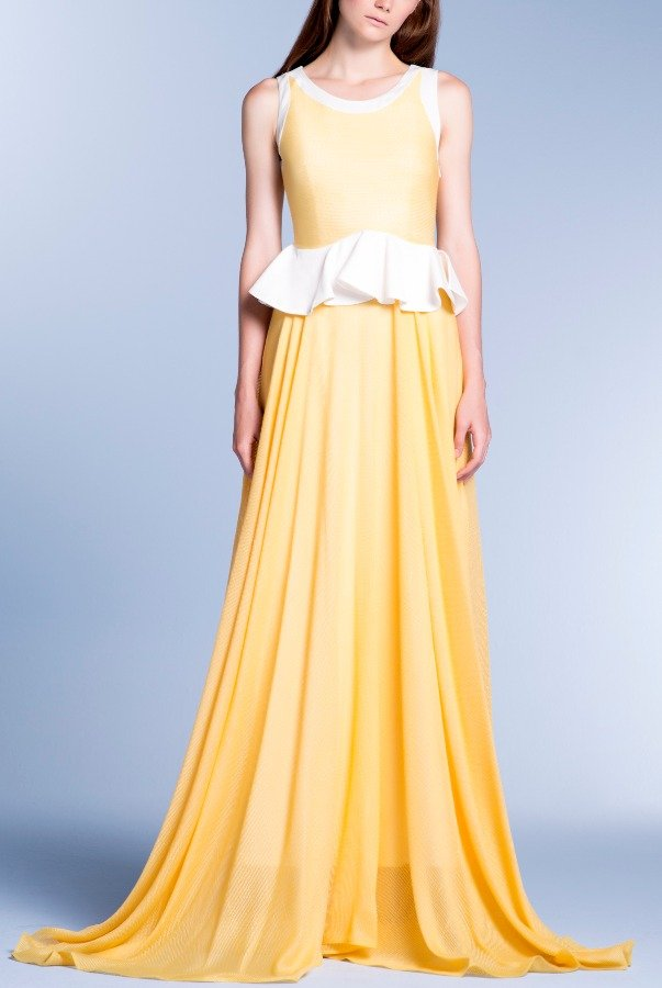 John Paul Ataker Yellow Viscose Satin Mesh Dress
