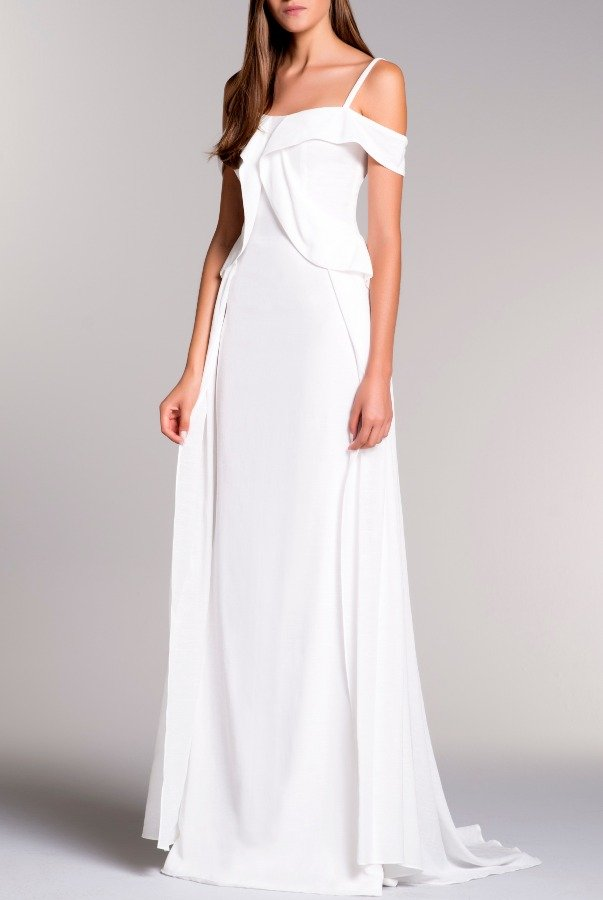 John Paul Ataker White Cold Shoulder Ruffled Viscose Jacquard Dress