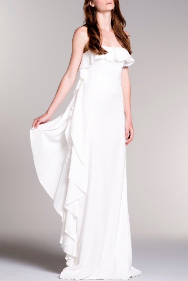 John Paul Ataker White Drape Ruffled Jacquard Goddess Dress