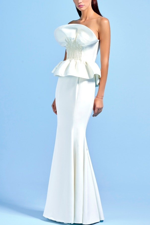 John Paul Ataker White Strapless Peplum Faille Mermaid Dress