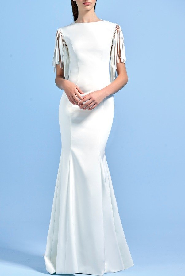 John Paul Ataker Laser Cut Fringe Detailed White Faille Long Dress