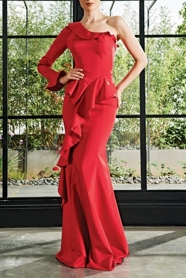 John Paul Ataker Red One Sleeve Ruffled Trumpet Dress JPA 2126