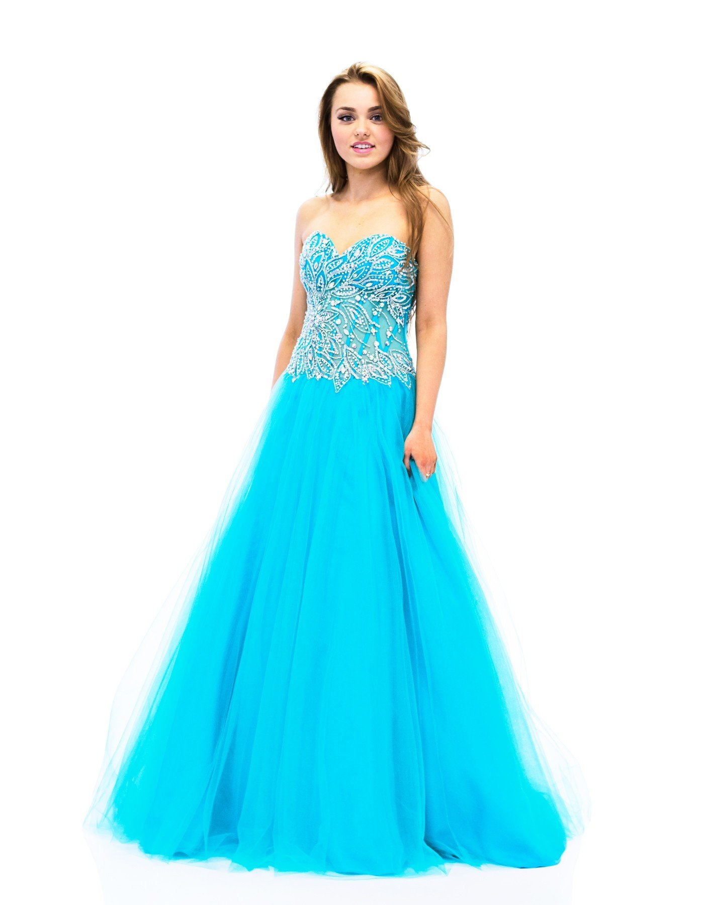 Riva Designs Blue Strapless Beaded Ballgown R7452