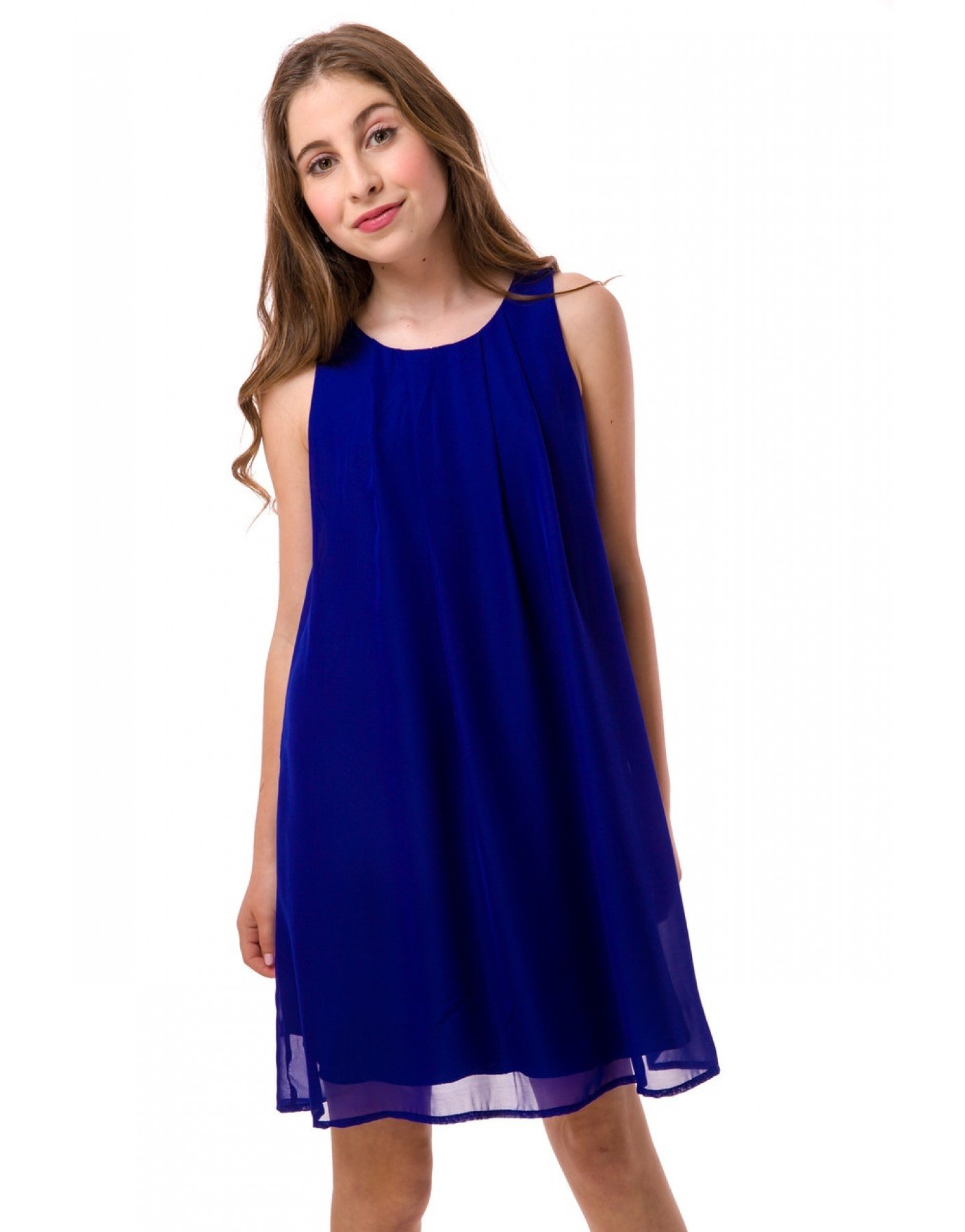 Un Deux Trois Blue Chiffon A-Line Dress T3129KB-Royal