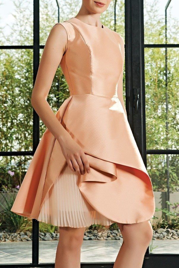 John Paul Ataker Salmon Pleated Organza Taffeta Dress JPA 2101