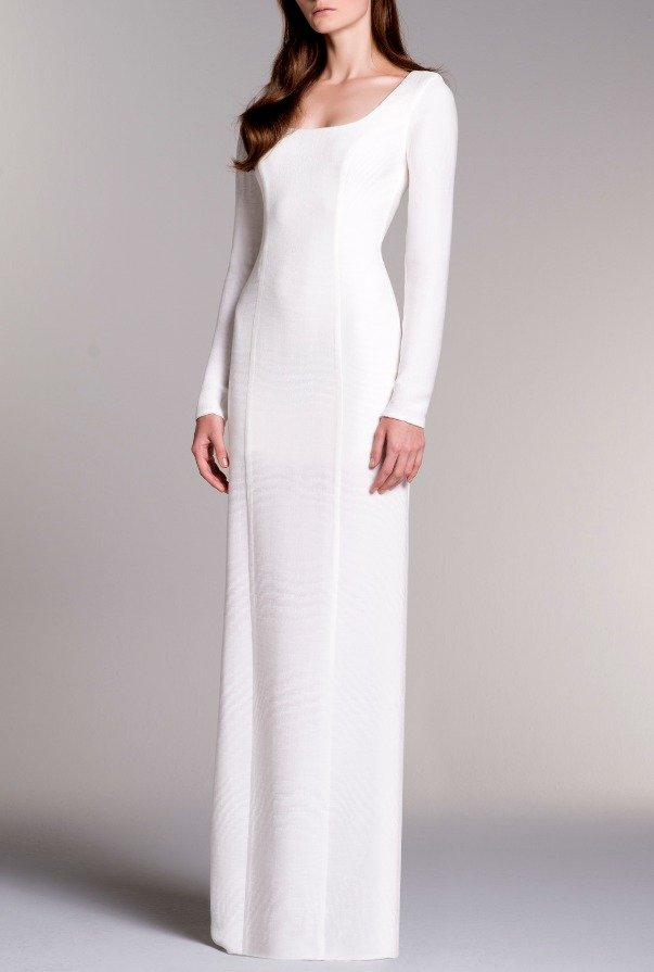 John Paul Ataker LONG SLEEVED STRETCH RIBBED JACQUARD DRESS