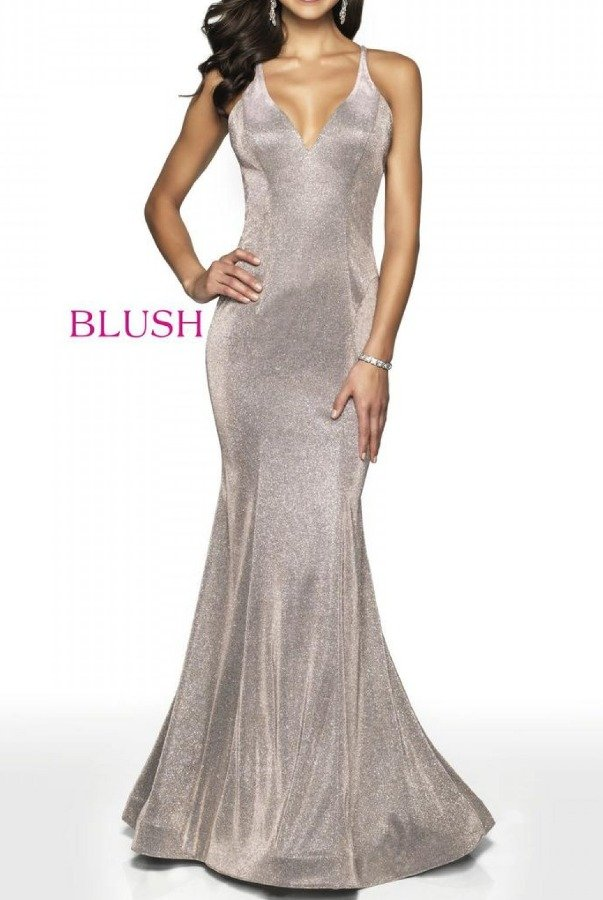 Blush Prom 11726 Fitted Shimmer Gown with Open Back