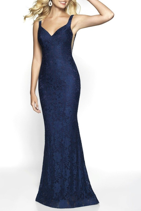 Blush Prom 530 Navy Blue Lace Gown with Train
